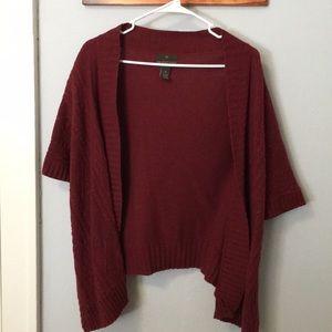 Deep Red Short-Sleeve Cardigan
